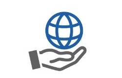 Illustration of hand holding a globe